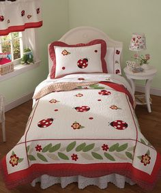 Another great find on #zulily! White & Red Ladybugs Quilt Set #zulilyfinds