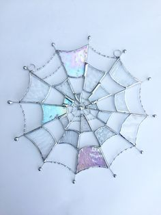 Stained Glass Cobweb Suncatcher TO ORDER - Handmade Window Decoration#cobweb #decoration #glass #handmade #order #stained #suncatcher #window