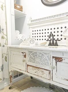 Fancy, chippy, buffet makes a fabulous bathroom vanity. B Vintage