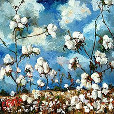 Cotton Field Paintings - Limestone County Cotton by Carole Foret