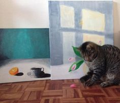 The cat and the paintings by Aastrøm. Aastrom.dk