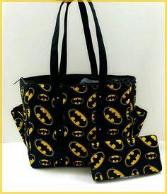 68c4c071370 Batman diaper bag set. Black yellow Tote. Matching wipe case baby shower  gift idea super hero theme
