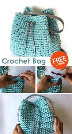 Crochet Bag / Sack - Crochet market bag free pattern - Crochet Bag / Sack Learn how to crochet this bag with free tutorial. Crochet Market Bag, Crochet Tote, Crochet Handbags, Crochet Purses, Easy Crochet, Tutorial Crochet, Crochet Bag Tutorials, Sewing Tutorials, Crochet Backpack Pattern