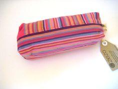 Pencil bag, Zippered Pencil Pouch, Pink Rainbow Striped Kikoy Pencil Bag, Pen Bag