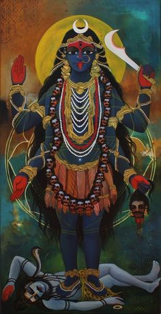 Found on r/IndianArtAndThinking. Badass Kali is often depicted standing on her consort/husband Shiva in Indian art. She's my favourite goddess to invoke when I feel like burning the patriarchy. Goddess Kali Images, Maa Kali Images, Kali Goddess, Goddess Art, Durga Painting, Lord Shiva Painting, Kali Hindu, Hindu Art, Indian Gods