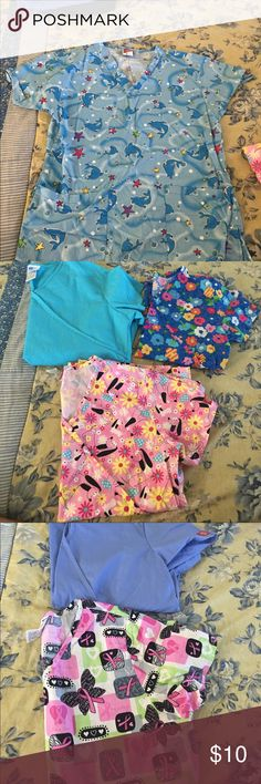 Scrub tops and bottoms Tops vary from XS to Medium. $5 each top. Pants are Small Tall. $10 each. Other