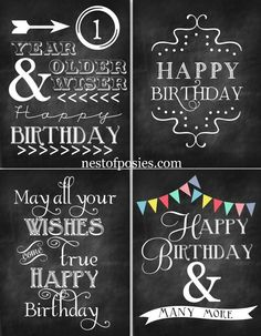 4 birthday chalkboard printables- print as 4x6 and fold for cards!