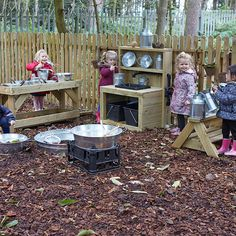 messy play workstations for Forest School.Ideal messy play workstations for Forest School. Learn with Play at Home: Make your own simple backyard Mud Kitchen 31 fantastic backyard kids ideas play spaces design ideas and remodel 17 Outdoor Play Kitchen, Mud Kitchen For Kids, Kids Outdoor Play, Outdoor Play Areas, Kids Play Area, Backyard For Kids, Outdoor Fun, Outdoor Spaces, Natural Playground