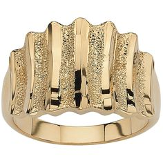 Palm Beach Jewelry PalmBeach 14k Yellow Gold-Plated Textured Concave Ring Tailored (Size 9), Women's