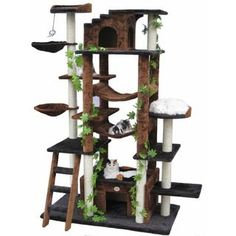 Go Pet Club High Brown/ Black Huge Cat Tree - 14787152 - Overstock - The Best Prices on Go Pet Club Cat Furniture - Mobile Cat Tree House, Cat Tree Condo, Cat Condo, Diy Pour Chien, Large Cat Tree, Huge Cat, Animal Gato, Diy Cat Tree, Cat Towers