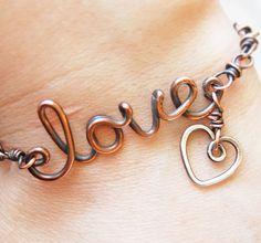 Oxidized. Copper. Wirewrapped. Love. Heart.  Bracelet.. $42.00, via Etsy.