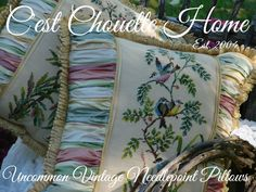 Beautiful Bird Vintage Needlepoints (now needlepoint pillows) www.CestChouetteHome.com