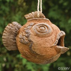 Coconut Fish Birdhouse  Whimsical folk art birdhouse hand carved from a coconut with a natural braided cord for hanging. #fairtrade www.serrv.org