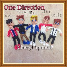 """Rainbow Loom charms """"One Direction"""" figures . Zain (Zayn) Malik, Harry Styles, Niall Horan, Liam Payne, Louis Tomlinson. Designed and loomed by Cheryl Spinelli 4/7/14. 1D"""