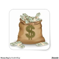 Money Bag Square Sticker