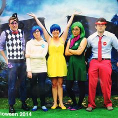 Disney Employees getting dress up as Disney Pixar Inside Out Emotions for Walt Disney Imagineering 2014 Halloween party. Characters include: Fear, Sadness, Joy, Disgust (the person tweeting) and Anger. Love the imaginative and simple costuming with these emotions. Creative Group Costume. From Janice Rosenthal on Twitter.
