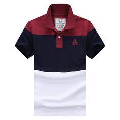 2015 Fashion Shirts Polo Men Striped Collar Short Sleeve Cotton Man Sport Golf Clothing Wear Casual High Quality 2XL Plus Size