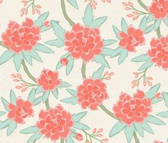 Paeonia in Mint and Coral fabric by willowlanetextiles on Spoonflower - custom fabric