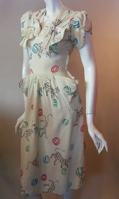 baby leopards and yarn ball print 30s dress (now owned by Dita Von Teese)