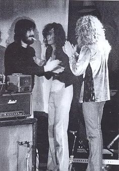 Led Zeppelin, old shot, this time a close up of Bonzo, Page and Plant