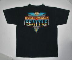 90s Harley Davidson T Shirt Seattle WA black by JaybrrdsWhatnots