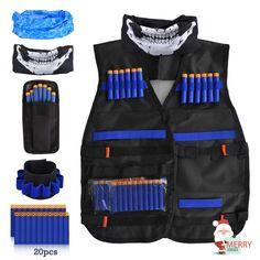 LOYO Kids Tactical Vest, Adjustable Tactical Vest Jacket Kit for Nerf Toy Gun N-Strike Elite Series with 20Pcs Soft Foam Darts Bullets & 1Pcs 8-Dart Wrist Band: Amazon.co.uk: Toys & Games Arma Nerf, Cool Nerf Guns, Baby Girl Dress Design, Nerf Darts, Nerf Toys, Modest Fashion Hijab, Hand Wrist, Tactical Vest, Vest Jacket