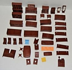 43 pieces Vintage Plastic Dollhouse Furniture 1960s Mad Men Style Kitchen/Dining #Unbranded