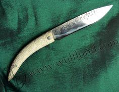 FORGED SLAVIC KNIFE, antler handle with carved Slavic symbols