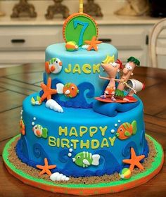 Can I pretend to be 7 years old and named Jack to have this for my birthday cake next year? Phineas Ferb cake, spotted on Cake Wrecks (Sunday Sweets). Cupcakes, Cake Cookies, Cupcake Cakes, Just Cakes, Cakes And More, Phineas Und Ferb, Amazing Cakes, Beautiful Cakes, Sea Cakes