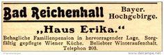 """Original-Werbung/ Anzeige 1924 - BAD REICHENHALL / """"HAUS ERIKA""""  - ca. 60 x 20 mm"""