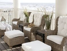 Beautifully Seaside / formerly Chic Coastal Living: Chic and Breezy Coastal Design Coastal Cottage, Coastal Style, Coastal Living, Country Living, Cottages By The Sea, Beach Cottages, Beach Houses, Rattan Furniture, Outdoor Furniture Sets