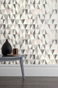 Buy Geo Wallpaper from the Next UK online shop Geo Wallpaper, Feature Wallpaper, Striped Wallpaper, Bedroom Wallpaper, Wallpaper Online, Kitchen Wallpaper Ideas Uk, Kitchen Images, Bedroom Decor, Wall Decor