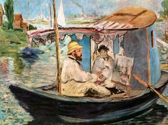 Edouard Manet: Monet Painting on the Seine - 1874. I have this painting on a teapot stand, given to me by my thoughtful Mother, one of my most treasured possessions.