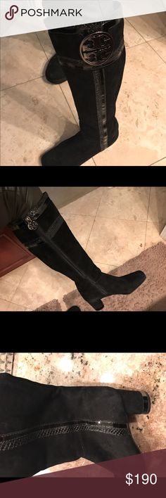 Like new I have this boots over 6 years and only used it max 2 times I guess I don't really like this brand I bought it from Nordstrom not sure original prove I forgot I can do more pictures . There is no prob whir this boots velvet really like new  size 7 and it is fit like a glove Tory Burch Shoes Heeled Boots