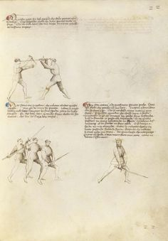Combat with Dagger and Sword Artist/Maker(s): Fiore Furlan dei Liberi da Premariacco, author [Italian, about 1340/1350 - before 1450] Date: about 1410 Medium: Tempera colors, gold leaf, silver leaf, and ink on parchment Dimensions: Leaf: 27.9 x 20.6 cm (11 x 8 1/8 in.) Object Number: 83.MR.183.20 Department: Manuscripts
