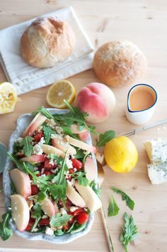 From Marshalls Abroad: Gorgonzola, Peach, Arugula Salad with Summer Fruit Vinaigrette {with or without steak!}