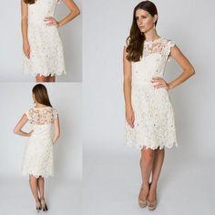 Vintage Tea Length Wedding Dress Jewel Sleeveless Bridal Dresses Hollow Knee With Sequins 2015 Lace