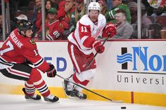 CrowdCam Hot Shot: Detroit Red Wings right wing Daniel Alfredsson moves the puck against Chicago Blackhawks defenseman Sheldon Brookbank during the third period at the United Center. The Blackhawks beat the Red Wings 2-0. Photo by Rob Grabowski