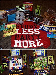 21st birthday care package I made for my soldier <3 he absolutely loved this, and so did his friends.