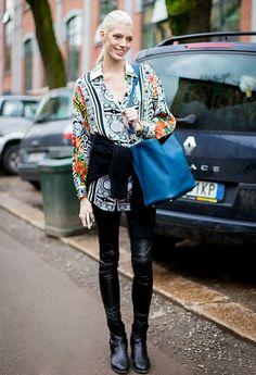 Extra Long Shirt + Leather Leggings + Colorful Bag