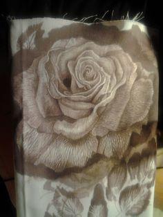 """Rose""  Painting elderberry juice on fabric... Paulina Szczepaniak, 2015  #rose #painting #blackelder #juice #fabric"