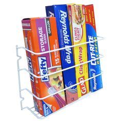 Maximize your kitchen storage space in cabinets and pantry with this convenient mountable organizer storage rack. This storage organizer is great for organizing all of your kitchen plastic, foil, wax