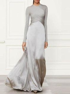 Pure Color Stitching Long Sleeve Evening Dress Brand Nychana SKU Gender Women Color Gray Style Sexy,Elegant Type Evening Dress Occasion Party,Wedding Product no. Decoration Pure Color with a deviation of 1 to Mor Dresses Elegant, Stylish Dresses, Sexy Dresses, Prom Dresses, Dress Prom, Dress Casual, Formal Dresses, Party Dress, Wedding Dresses