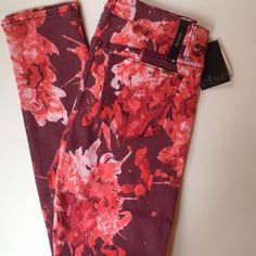 """""""Else"""" Port Wine Patterned Skinny These bold port wine colored sunniest make a statement! A floral-ish/watercolor print in reds and wines looks great with a cream shirt and heels for weekends or just to add a pop of color to your fave jacket! NWT - Else from Macy's. 14"""" across at waist (but has stretch). 9"""" rise. 30"""" inseam. 55%Cotton/43%Tencel/2%Spandex Else Pants Skinny"""