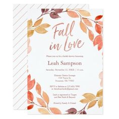Fall in Love watercolor leaves bridal shower Card - invitations personalize custom special event invitation idea style party card cards