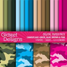 INSTANT DOWNLOAD Camouflage Digital Paper Pack