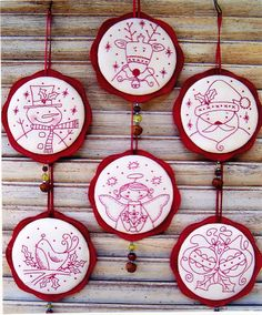 Jingly Dangly Things - sweet redwork Christmas ornaments pattern - Country Keepsakes. $15.95, via Etsy.
