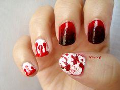 Diseño de uñas inspirado en True Blood. True Blood nail art design.
