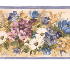Painterly Floral White Daisies Violets Blue Purple Flowers Wallpaper Border #BrewsterHomeFashions