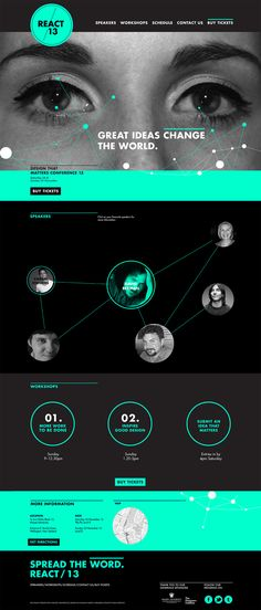 This was a university project where I had to design a website for a design conference. My conference is called 'React' as it has a focus on Design for social change. Website Design Layout, Web Layout, Layout Design, Conference Branding, Design Conference, Conference Program, Event Design, App Design, Site Vitrine